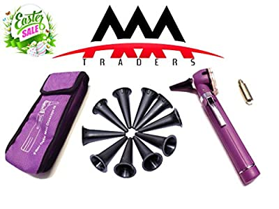 Otoscope - Compact Pocket Size Fiber ENT Optic Otoscope Purple Color with Xtra Free Led Bulb.