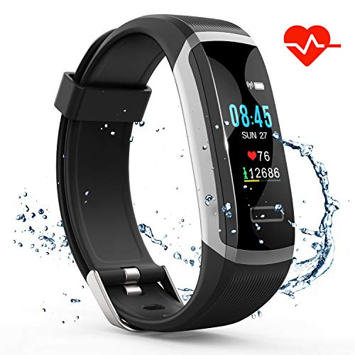 Watch Calorie Monitor - Akuti Fitness Tracker HR, Fitness Watch with Heart Rate Monitor, Activity Tracker, Sleep Monitor, Step Counter Calories Watch, IPX7 Waterproof Smart Wristband Pedometer for Kids, Women and Men