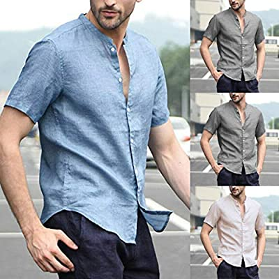 TOPUNDER Men's Baggy Cotton Linen Solid Short Sleeve Button Retro T Shirts Tops Blouse