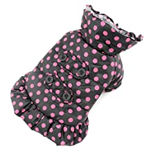 PETLOVE Polka Dot Small Dog Trench Coat Winter Ladies Hooded Padded Jacket Fleece Cat Apparel Girls Black L