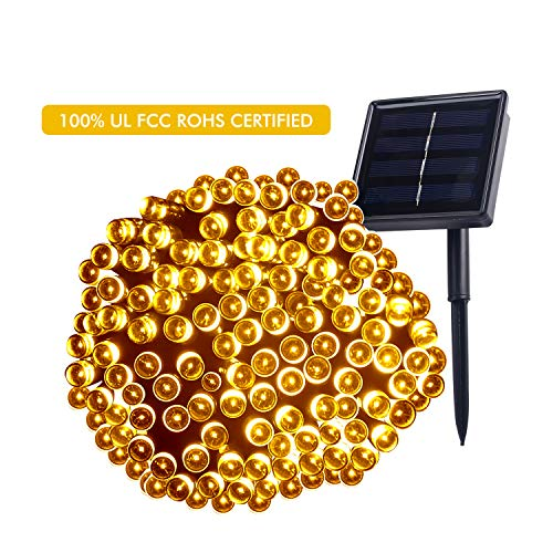 Backever Solar String Lights, [Upgraded] Fairy Lights 72ft 200 LED IP65 Waterproof Ambiance Lights Decorative Garden Lights Ideal for Outdoor Garden Home Wedding Xmas Tree New Year Party (Warm White) by Backever