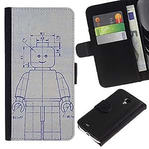 Stuss Case / Funda Carcasa PU de Cuero - Robot de la máquina de dibujo Sketch Ai Arte Futuro - Samsung Galaxy S4 Mini i9190