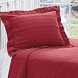 Orvis Solid Seersucker Bedspread/Twin, Red