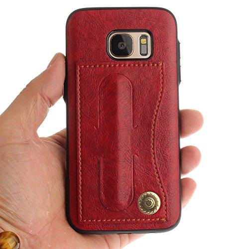 Funda Billetera para Samsung Galaxy S6, Samsung G920F Carcasa, CLTPY Soporte de la Tarjeta Diseño Cuero y TPU Caja Protectora para Samsung Galaxy S6/G920F + 1 x Lápiz Gratis - Oro Rojo
