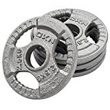 DKN Unisex Adult Tri Grip Cast Iron Olympic Weight Plates - Grey, 4 x 2.5kg
