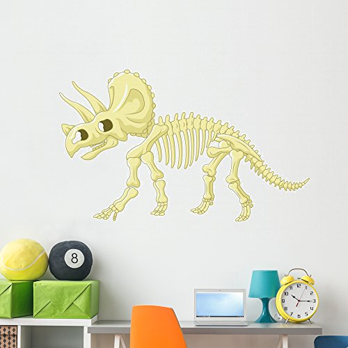 Wallmonkeys Triceratops Skeleton Wall Decal Peel and Stick Decals for Boys (60 in W x 44 in H) WM497459 -