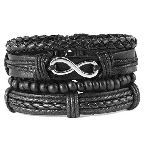HZMAN Mix 4 Wrap Bracelets Men Women, Hemp Cords Wood Beads Ethnic Tribal Bracelets, Leather Wristbands (SZ809042)