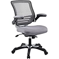 Modway Edge Mesh Back and Gray Mesh Seat Office Chair With Flip-Up Arms - Ergonomic Desk And Computer Chair