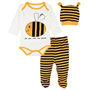 Lilax Baby Girl Fun Unique Soft Cotton Bodysuit, Cap, and Pant Layette 3 Piece Gift Set 6M Bee