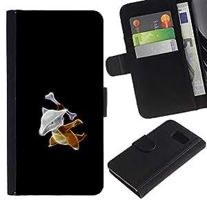 EJOY---Tirón de la caja Cartera de cuero con ranuras para tarjetas / Samsung Galaxy S6 / --Meter Monster Fox Con El Hueso