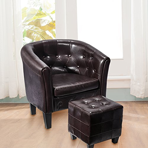 Leather Vintage Accent Chair Armchair Club Seat with Ottoman