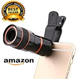 Teconica 8x Zoom Mobile Phone Telescope Clip Lens For Cell Phone Optical Lens Magnifier For All Android And IOS Devices (Black)
