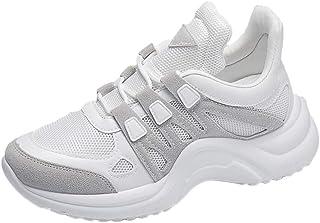 HUYURI Scarpe da Donna Traspiranti a Rete Scarpe da Ginnastica alla Moda Lace Up Soft High Leisure Footwears