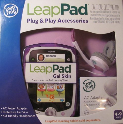 Leap Frog LeapPad Plug & Play Accessories Exclusive Purple Gel Skin, AC Adapter and Headphones by LeapFrog Enterprises (Image #1)