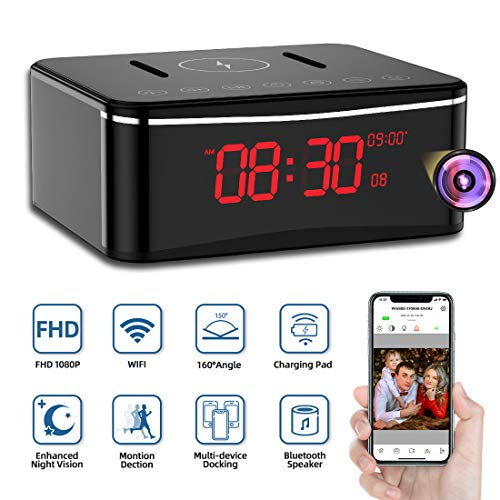 Hidden Camera WiFi, Spy Camera Clock, Monja Nanny Cameras with Speaker, Multifunction Cam with USB Port, Quick Charging Panel, Enhanced Night Vision, and Motion Detection for Indoor Home Security