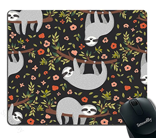 Adorable Mouse - Smooffly Adorable animal Gaming Mouse pad Custom,Funny Sloth On Tree Personality Desings Gaming Mouse Pad