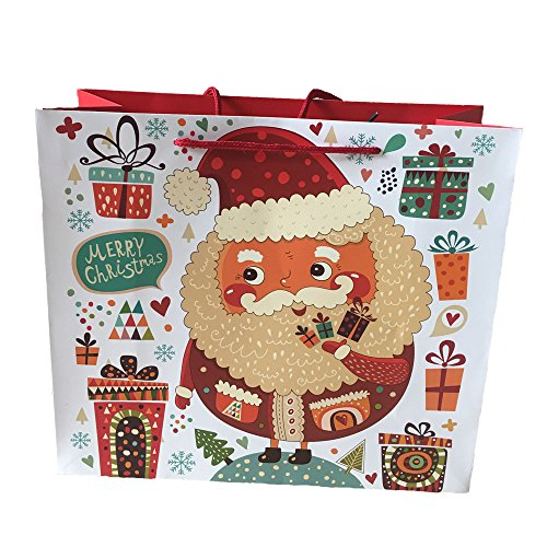 Christmas Holiday Gift Bag 24 Count| 12 gift bags 3 Large, 4 Medium, 5 Small & 12 Merry Christmas Greeting Cards| Gift Set With Unique Luminous Festive Designs & Patterns