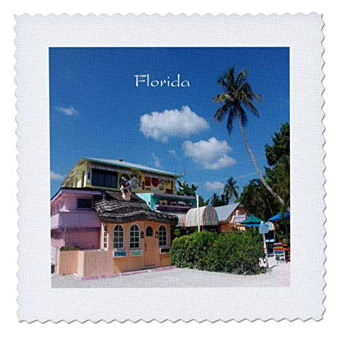 3dRose Lens Art by Florene - Fantastic Florida - Image of Famous Bubble Room Restaurant Captiva - 18x18 inch Quilt Square (qs_293656_7)