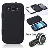 Topforcity Rugged Hybrid Rubber Shockproof Protective Case for Samsung Galaxy S3 i9300 with Screen Protector(black) + Free Xpower Car Charger