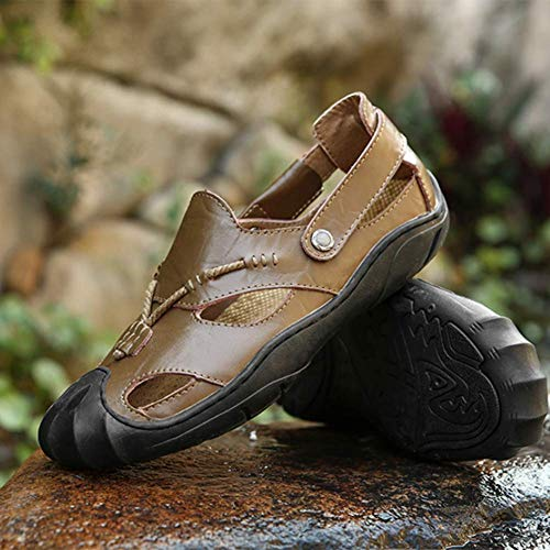 uomo ciabatta escursionismo chiuse Comoda Darkbrown estate in Yellowbrown da pelle Sandali 41 ZIdq8wZ