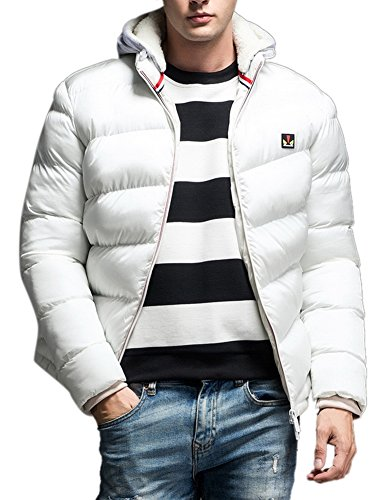 Men's Thicken Casual Quilted Hooded Puffer Down Jacket White XL