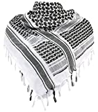 Military Shemagh Tactical Desert 100 percent Cotton Keffiyeh Scarf Wrap,Black/White,One Size