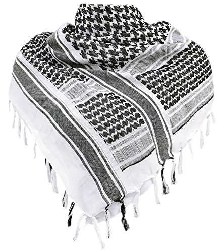 - Military Shemagh Tactical Desert 100 percent Cotton Keffiyeh Scarf Wrap,Black/White,One Size