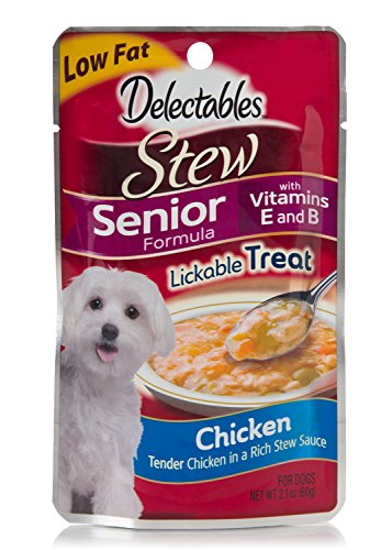 Delectables Lickable Dog Treat for Senior Dogs, Stew, Chicken, 2.1 oz (Pack of 12)