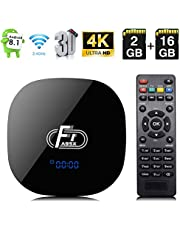 Android 8.1 TV Box, A95X F1 Smart Android 8.1 Box Amlogic S905W CPU Quad-Core Cortex-A53 2GB RAM 16GB ROM Compatible con 2.4GHz WiFi 3D 4K HDMI 2.0 100M LAN Ethernet