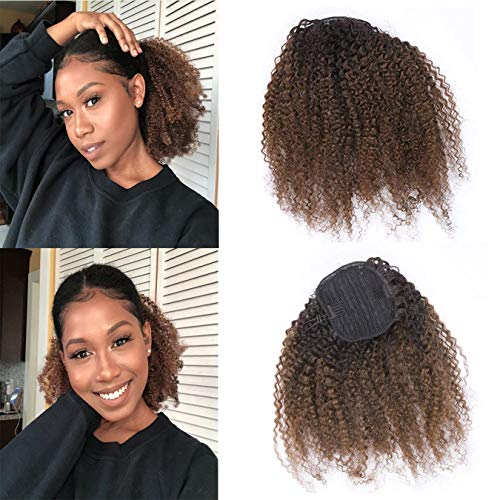 (Afro Kinky Ponytail Human Hair Drawstring Kinky Clip In Hair Extensions For Full Head Natural Ponytail Extension For Black Women Curly Ponytail Hair Piece Dark Brown 1B/4 10 Inch)