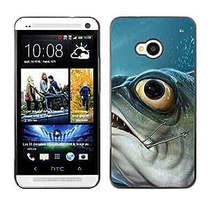 Be Good Phone Accessory // Dura Cáscara cubierta Protectora Caso Carcasa Funda de Protección para HTC One M7 // Piranha Fish Hook Fishing Fisherman Boat