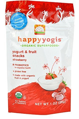 Happy Baby happyyogis Organic Superfoods Yogurt and Fruit Snacks Strawberry - 1 oz - Case of 8 by Happy Baby