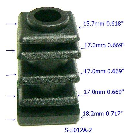 Oajen caster socket furniture insert for 5/16 x 1-1/2 stem, use with 3/4 OD square tube, 4-pack