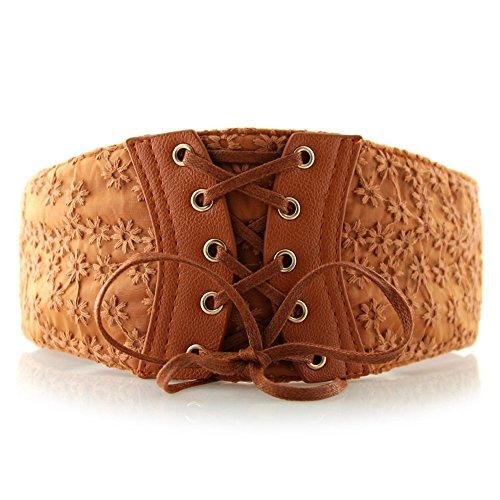 Womens Tied Elastic Wasit Belt Lace High Waist Belt Corset Cinch Belt (S-M, brown) (Waist Corset Belt High)