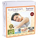 Harmony Linens Premium Waterproof Mattress Protector - Dust Mite and Bacteria Resistant - Hypoallergenic - Fitted Deep Pocket - (King)