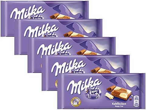 Milka Milk & White Chocolate Confection, 100g/3.5oz (HAPPY COW, PACK OF 5)