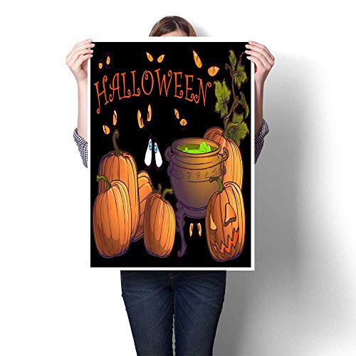 Wall Decoration Halloween pumpkins jack o lantern and cauldron with magic potion on a black background Postcard or other festive design template Decorative Fine Art canvas Print Poster K 32
