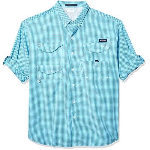 Small Sunset Red Multi Plaid Columbia Mens Super Bonehead Classic Short Sleeve Shirt