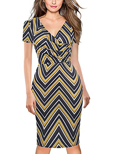oxiuly Women's Casual V Neck Short Sleeve Work Church Stretchy Bodycon Pencil Dress OX286 (Blue Stripe, XXL) by oxiuly