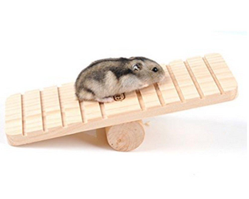 Chytaii Balançoire à Bascule pour Hamster Jeu de Bascule Jouets de Petit Animal Souris Hérisson Seesaw en Bois
