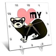 3dRose dc_10788_1 Love My Ferret White-Desk Clock, 6 by 6-Inch