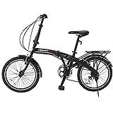 GTM 20' 6 Speed Foldable Bicycle Folding Bike Shimano Hybrid, Black
