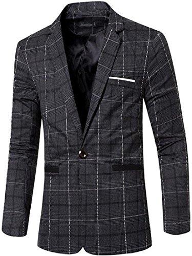 jeansian Men's Fashion Plaid Lapel Blazer Suit Jacket Outerwear Tops 9526 Black L