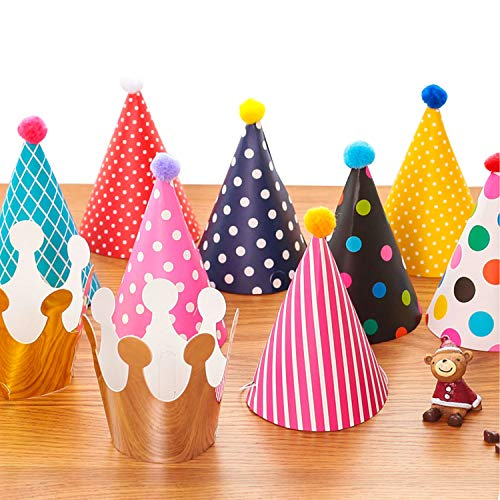 MOOSENG Party Hats 11 Pack Fun Cone Party Hats for Kids or Adults -