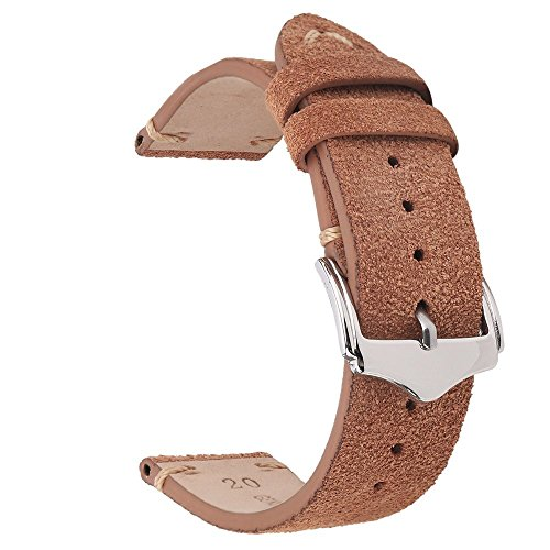 EACHE Suede Leather Watch Band Replacement Straps 20mm Light Brown