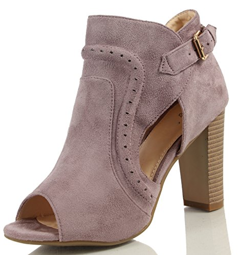 MAH Women's Faux Suede Peep Toe Cutout Side Stacked Heel Ankle Bootie