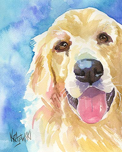 Golden Retriever Art Print from Original Watercolor Painting, Dog Gifts and Portraits by Ron Krajewski