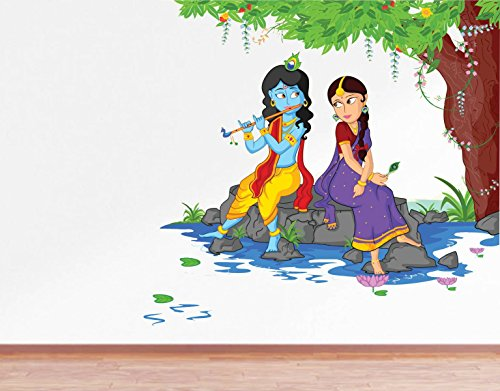 Rawpockets Decals ' Lord Krishna Playing Flute with Radha on River Bed ' Large Size ( Wall Coverage...