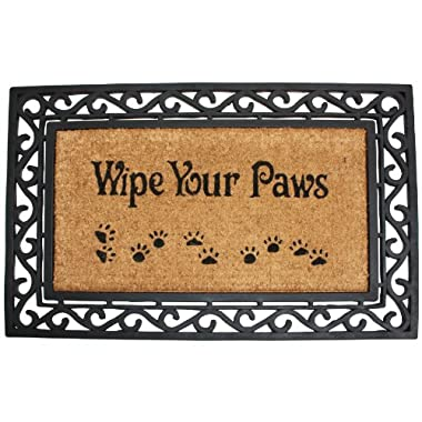 J & M Home Fashions Heavy Wipe Your Paws Natural Coir and Rubber Doormat, 18-Inch by 30-Inch