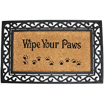 j u0026 m home fashions heavy wipe your paws natural coir and rubber doormat 18